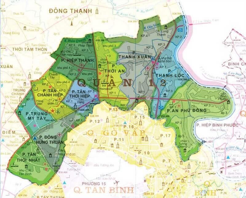 bản đồ các phường của quận 12