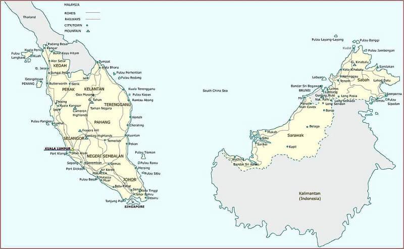 ban do hanh chinh malaysia